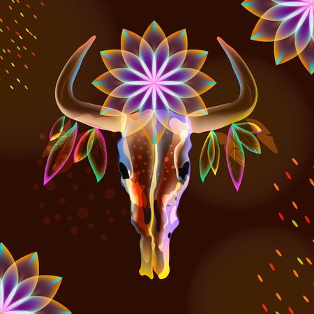 Bright bull skull with flowers over dark, modern illustration