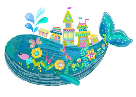 Big beautiful whale with houses and flowers over white, bright color illustration, cute cartoon