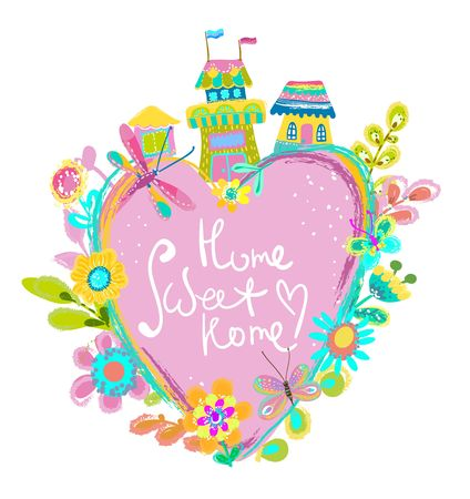 Home Sweet Home illustration, bright background with houses and flowers. cute colorful illustration