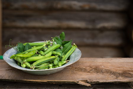 green peas on rustic wooden background in old metal plate Stock Photo