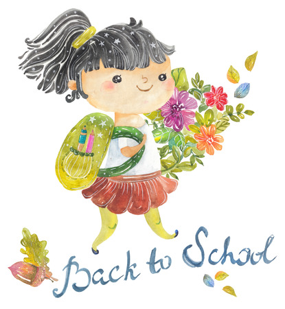 Welcome back to school, Cute watercolor school kids with floral elements over white