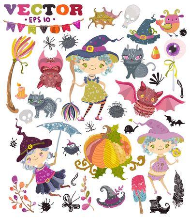 Halloween collectie van symbolen en elementen voor vakantie ontwerp, Leuke heksen meiden met schattige dieren, kleur illustratie Stockfoto