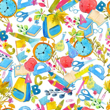 School supplies over white, watercolor collection of school objects, seamless pattern Stock Photo