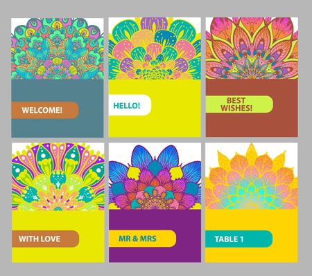 Collection of color cards with Vintage decorative elements. floral ornaments, oriental pattern for design, Islam, Arabic, Indian, turkish, motifs.