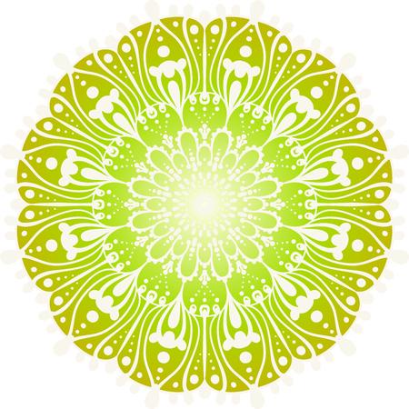 花の色マンダラ。ヴィンテージ装飾的な要素。オリエンタル柄, ベクターイラスト  イラスト・ベクター素材