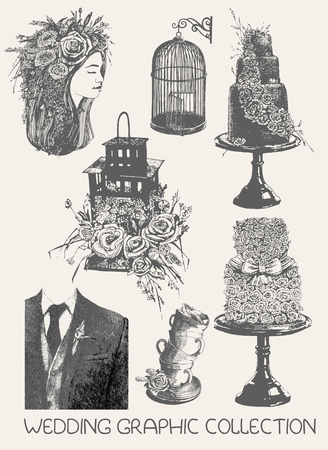 Wedding graphic collection, doodle illustration