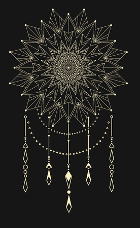 Flower Mandala. Dream catcher, Vintage decorative element. Oriental pattern, vector illustration