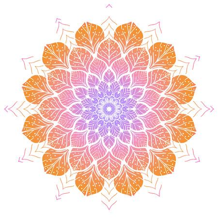 マンダラの花の色。ヴィンテージの装飾的な要素。東洋パターン、ベクトル イラスト  イラスト・ベクター素材