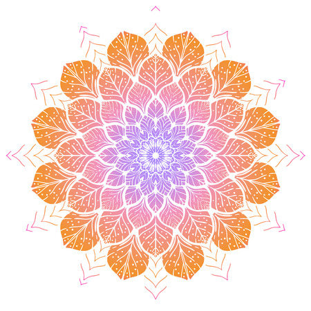 Flower color Mandala. Vintage decorative element. Oriental pattern, vector illustration