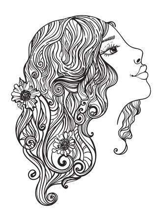Beautiful woman with flowers in her hair, doodle illustration