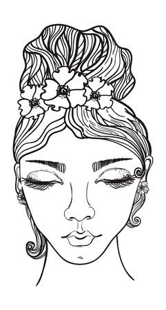 彼女の髪に花を持つ美しい女性、落書きイラスト
