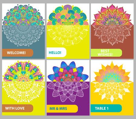 Collezione di carte colori con elementi decorativi vintage. ornamenti floreali, motivi orientali per il design, islam, arabo, indiano, turco, motivi. Archivio Fotografico - 87880027