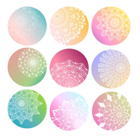 Flower Mandala set. Vintage decorative elements. Oriental pattern, vector illustration Illustration