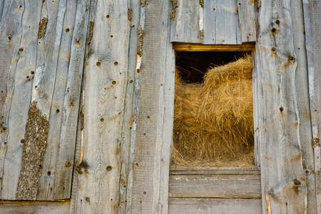 Wooden hayloft, Russian village Stock fotó