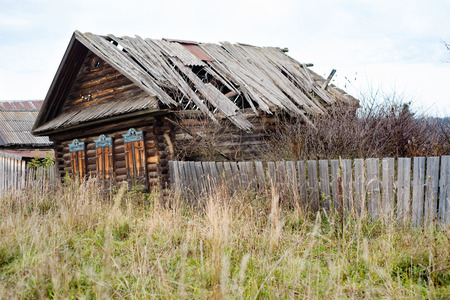 old, abandoned wooden house, Russian village