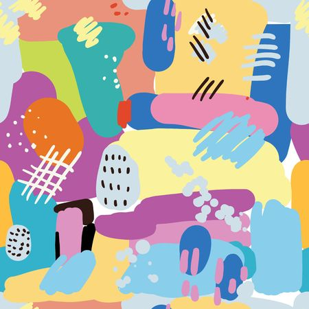 Hand drawn abstract seamless pattern with colorful brush strokes