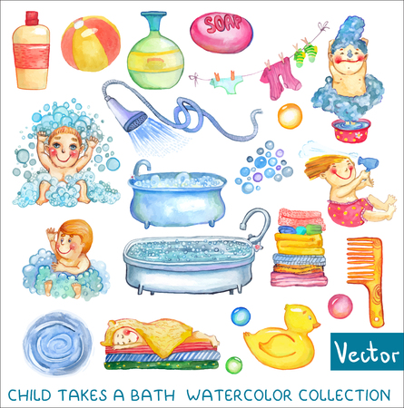 Watercolor children and bath time over white background. Cute funny kids and elements