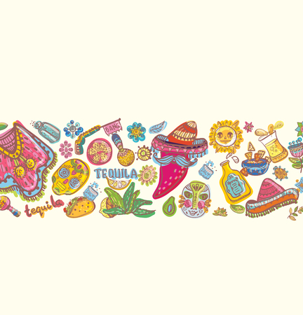 Mexico illustrations, colorful composition