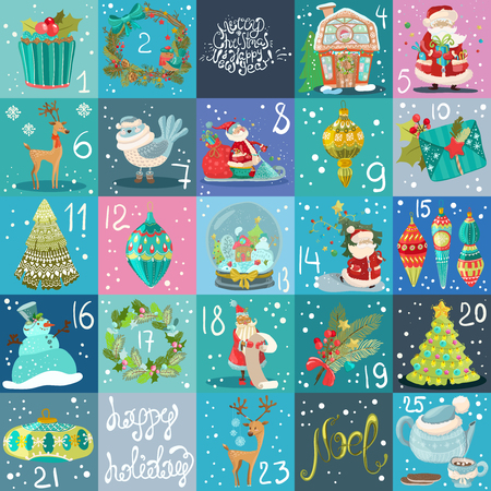 Advent calendar. Christmas poster, big collection of Christmas illustrations Vectores