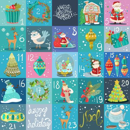 Kalendarz adwentowy. Plakat świąteczny, duża kolekcja ilustracji świątecznych Ilustracje wektorowe