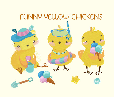 Happy cute baby chickens, funny cartoon characters