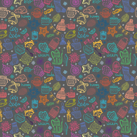 Christmas doodles collection, seamless pattern