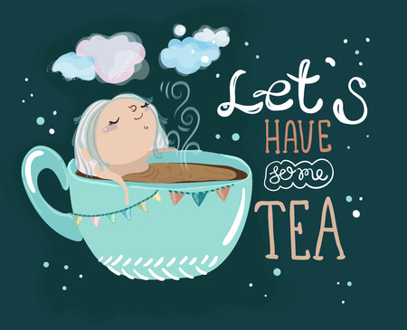 Tea time lettering and cute cartoon baby girl, hand drawn illustration Çizim