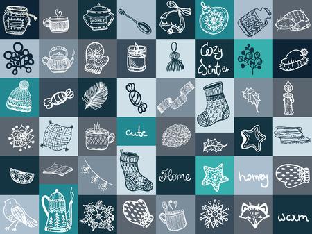 СChristmas doodle icons. Иллюстрация