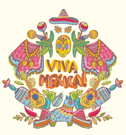 Mexico illustrations collection, colorful elements for design.