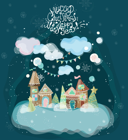 Beautiful holiday illustration with gingerbread houses. Banco de Imagens - 91762380