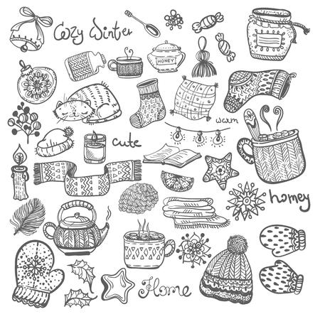 СChristmas doodle icons. Illusztráció