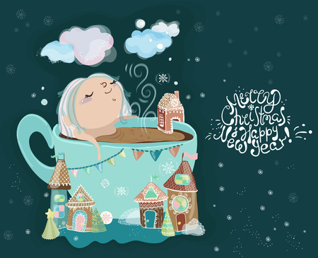 Cute little baby girl in the cup of tea, Christmas card.