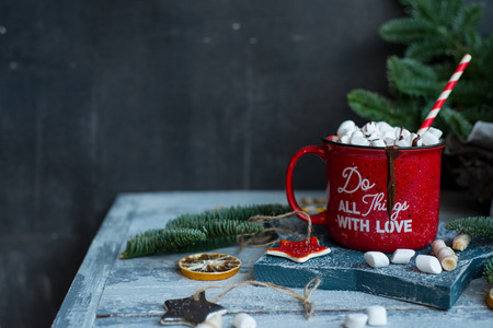 Beautiful background with red mug and cacao, modern food still life, Christmas holiday card, rustic background