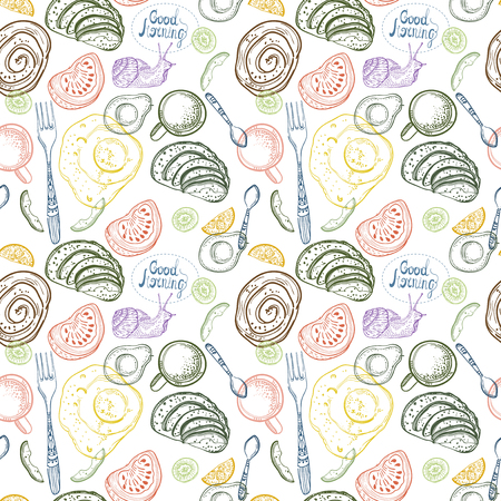 Breakfast time illustration, doodle hand drawing, seamless pattern Stock Photo