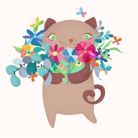 Cute and funny cartoon cat character with floral bouquet, cartoon illustration over white background. Cute and funny curious  cat character