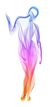 Streszczenie ilustracja nowoczesny, piękny kolor tła z młodą modelką