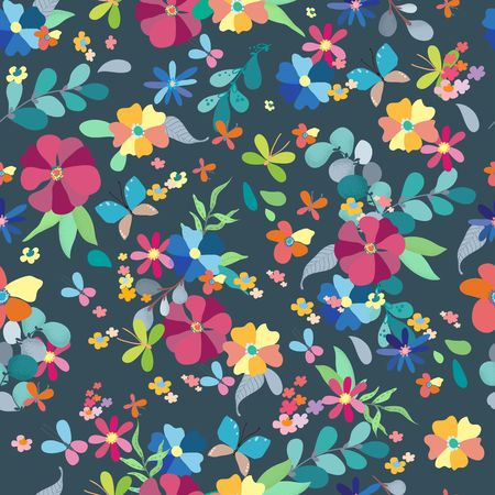 Seamless floral pattern, spring or summer decoration for beautiful design  イラスト・ベクター素材