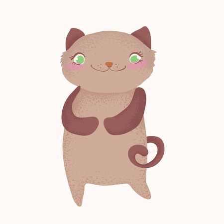 Cute and funny cartoon cat character, cartoon illustration over white background. Cute and funny curious  cat character Ilustração