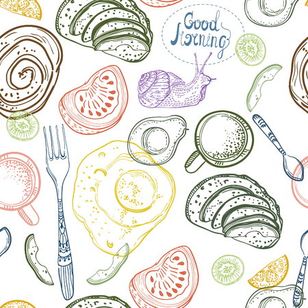 Breakfast time illustration, doodle hand drawing, seamless pattern Illustration