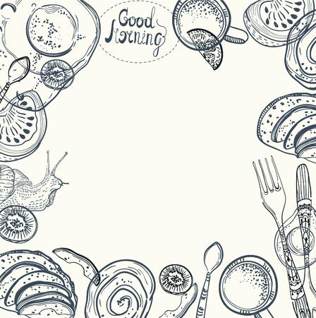 Breakfast time illustration, doodle hand drawing background