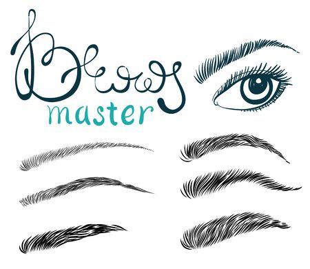 Illustration of beautiful female long eyelashes and brows. Trendy makeup with lettering, Concept for beauty salon, cosmetics label, visage or makeup studio
