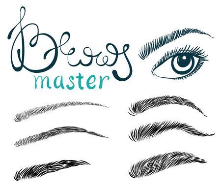 Ilustración de hermosas pestañas largas y cejas femeninas. Maquillaje de moda con letras, concepto para salón de belleza, etiqueta de cosméticos, rostro o estudio de maquillaje