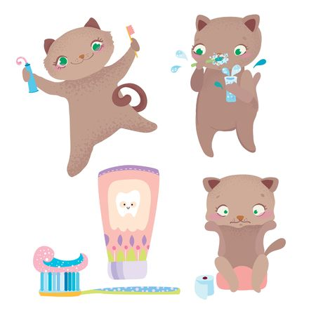 Cute cartoon cat morning routine, Funny cartoon character, Vector illustration over white background