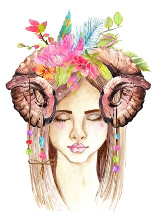 Portrait of beautiful young woman with beautiful face and flower wreath and horns. Boho Stylish watercolor art. Hand drawn illustration