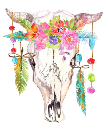 Watercolor bull skull with flowers, beads and feathers over white, beautiful boho style art 版權商用圖片 - 98232382