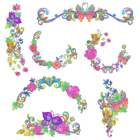 Watercolor collection of color flowers and butterflies frames,  bright and beautiful elements over white