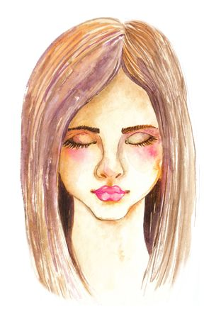 Portrait of beautiful young woman with beautiful face, Stylish watercolor art. Hand drawn illustration 스톡 콘텐츠