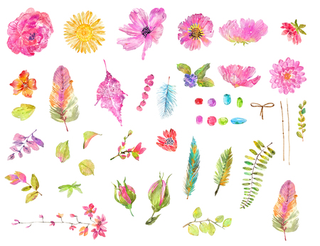 Watercolor beautiful floral design set. Hand painted collection over white background. different kind of branches, flowers,  leaves, feathers and beads Stock Photo