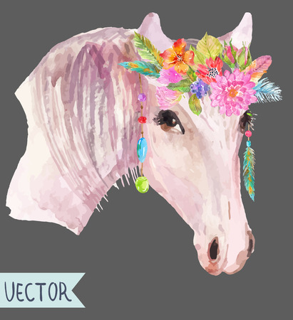 Watercolor horse head with floral wreath over white, beautiful boho style art Illustration