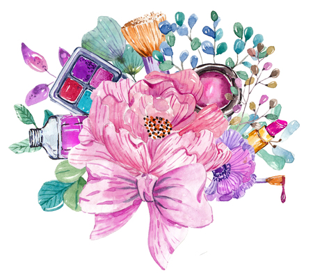Cosmetic watercolor collection with flowers, beautiful make up bouquet over white
